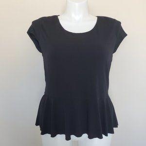 Vince Camuto Black Ruffle Peplum Top Shirt Size XL